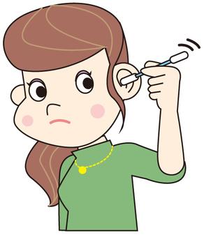 Ear sweep with swab