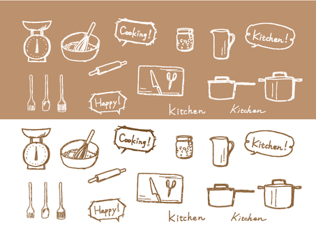 Kitchen equipment Line drawing - Sepia