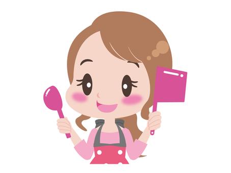 一個女人拿著一個鍋