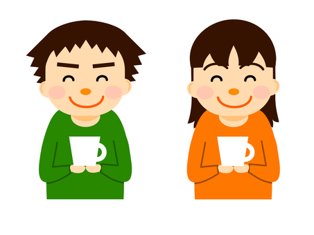 Men and women with mugs