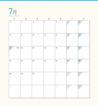 Simple Calendar July 2019