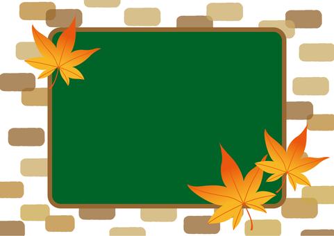 Autumn background Maple brick Blackboard