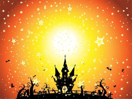 ハロウィン星空の下のお城の風景オレンジ