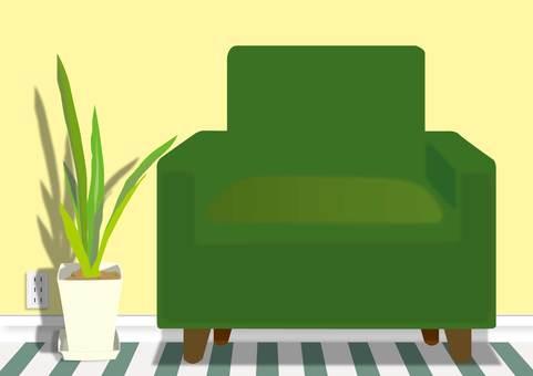 Yellow wall and green sofa