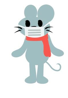 Mouse wearing a muffler mask