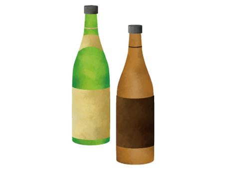 일본 술 수채화 스타일