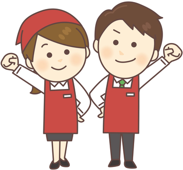 Super clerk _ male and female (red · whole body)