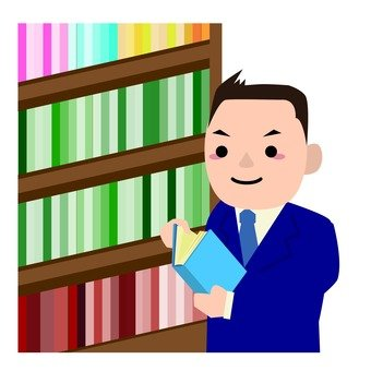 Bookshelf and businessman