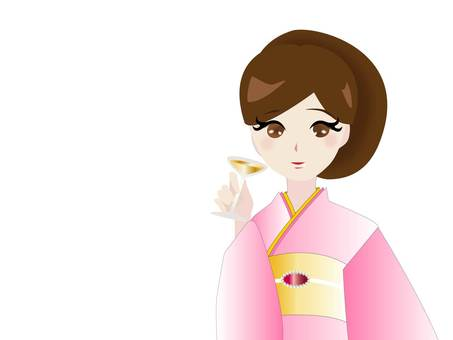 Cute kimono woman