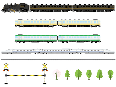 Train illustration set