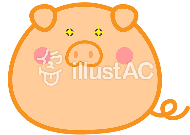 可愛い豚が目を輝かせているイラストイラスト No 1312489無料