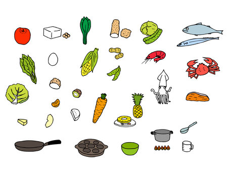 Ingredients and dishes (color assortment set)