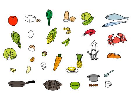 재료와 식기 (색상 바구니 세트)