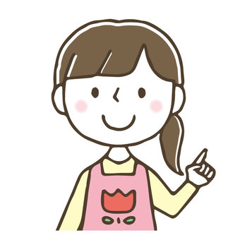 Cute female nursery teacher / pointing hand / hand drawn