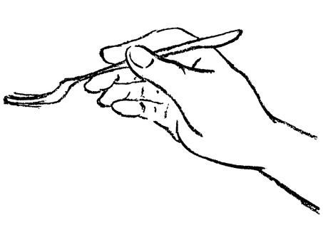 포크를 가진 손