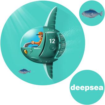Deep sea boat sunfish