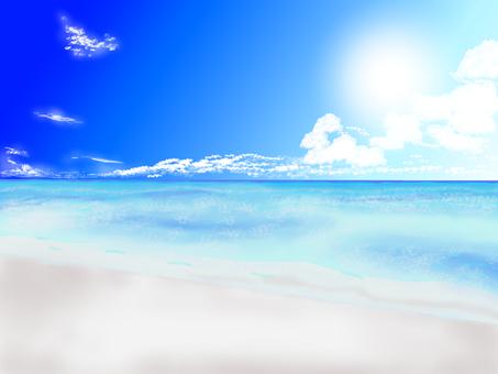 여름의 깨끗한 해변