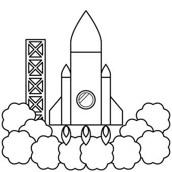 Rocket Launch Pad 2 black and white coloring page