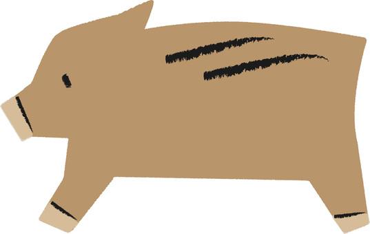Wild Boar Simple Hand-drawn Wind No Contour