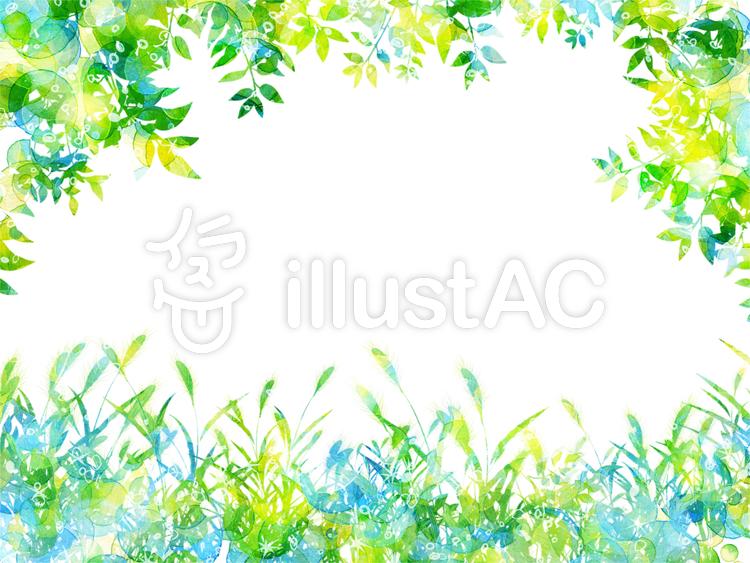 手描き水彩森の中フレーム夏イラスト No 1054751無料イラストなら