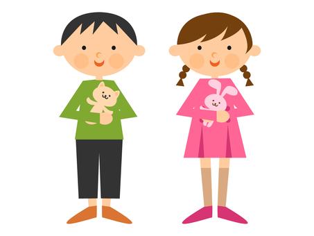 Children and plush toys