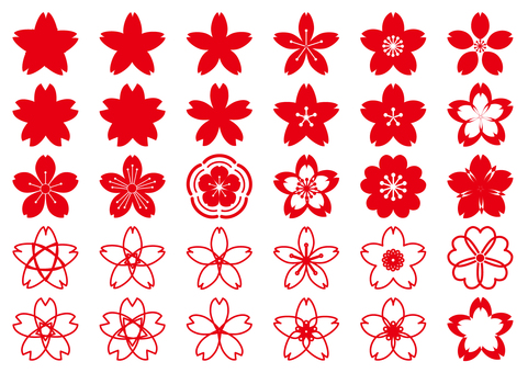Red cherry blossoms petals - cute Japanese style transparent png