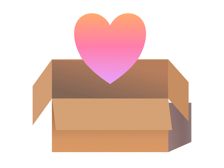 Cardboard luggage heart courier gift