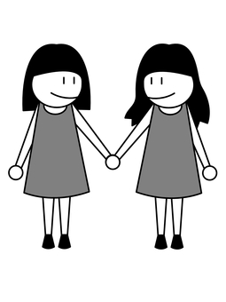 Female couple connecting hands monochrome