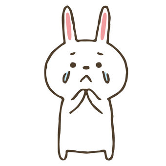 泣くかわいい手描きのうさぎ/涙