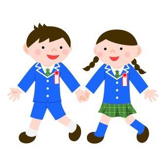 Let's hold hands, blue