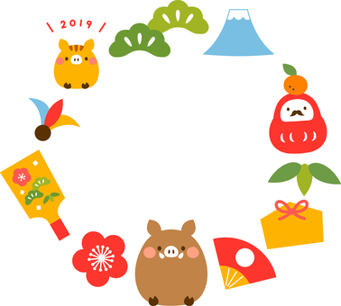 2019 New Year's cards decorative frame