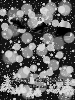 Christmas santa in the snow monochrome