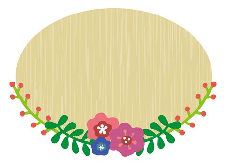 나무 판자와 꽃 프레임