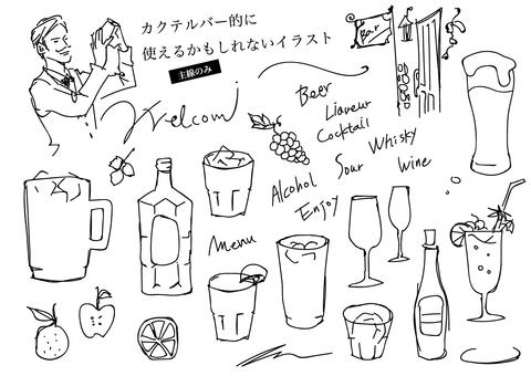 Hand drawn as a menu of liquor may be used