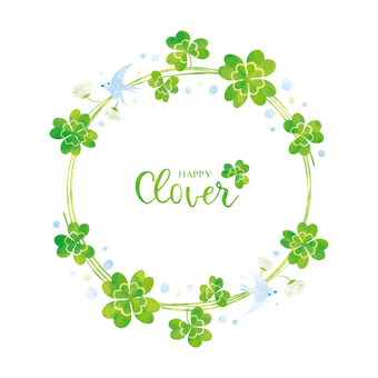 Spring background frame 049 Clover watercolor