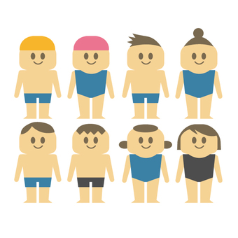 Men and women in bathing suits