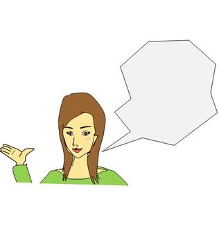 A woman explaining something