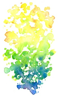 Watercoloring sunken leaves on title background and background