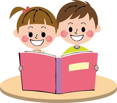 Picture book pink girl boys desk light tea