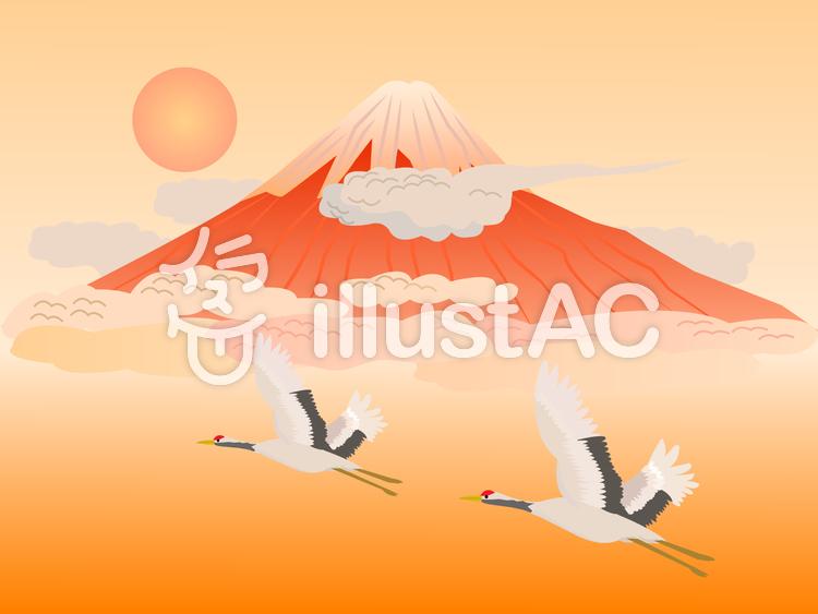 赤富士と鶴のイラスト