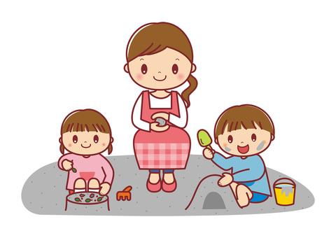 砂場で遊ぶ園児と保育士 イラスト