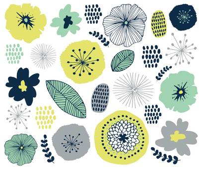 Scandinavian flower pattern summer