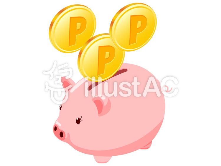 イラスト素材:ぶた貯金箱 ポイント獲得 複数コイン