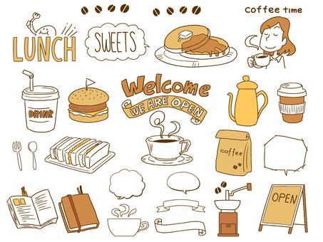 Cafe-style hand drawn illustration set