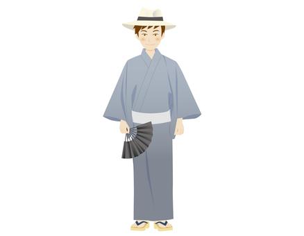 A man in a yukata with a fan