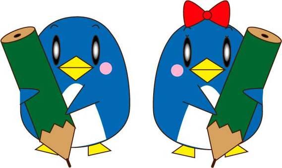 Penguin couple holding a pencil