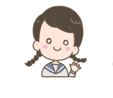 Schoolgirl waving