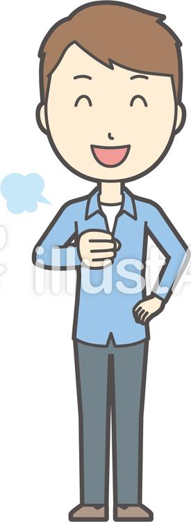 ブルー襟シャツ男性-180-全身のイラスト