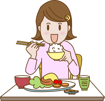 A woman having a meal