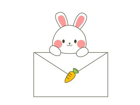 Rabbits with envelopes (carrots)